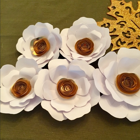 Other white gold paper flowers poshmark white gold paper flowers mightylinksfo